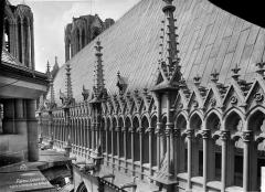 Cathédrale Notre-Dame - Façade sud : galerie supérieure et toiture, en perspective vers l'ouest