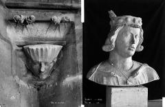 Cathédrale Notre-Dame - Transept sud : détail de figure sculptée. Buste de Clovis (déposé)