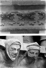 Cathédrale Notre-Dame - Transept sud : détail de figures sculptées et d'ornement végétal