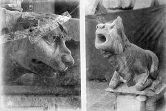 Cathédrale Notre-Dame - Transept sud : détail de figures sculptées (gargouille et corbeau)