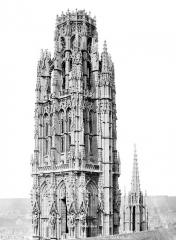 Ensemble archiépiscopal - Tour dite de Beurre : partie supérieure, côté nord-est