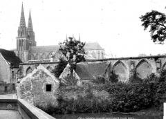 Cathédrale Notre-Dame - Vue générale prise du sud et restes de l'ancien cloître