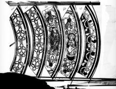 Cathédrale Saint-Jean - Vitrail des Rois mages : Fragment de bordure avec ornements et sujets, l'Orgueil et l'Humanité