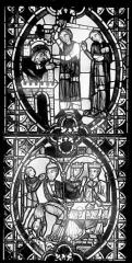 Cathédrale Saint-Jean - Vitrail : Décollation de saint Jean-Baptiste. Festin d'Hérode