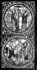 Cathédrale Saint-Jean - Vitrail : Assemblée d'évêques. Christ et apôtres