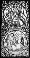 Cathédrale Saint-Jean - Vitrail : Saint Jean l'évangéliste. Vision de l'Apocalypse