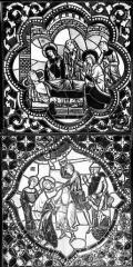 Cathédrale Saint-Jean - Vitrail : Personnages veillant un mort. Décollation d'un saint