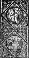 Cathédrale Saint-Jean - Vitrail : Personnage saint donnant aux pauvres