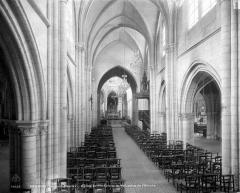 Eglise Sainte-Croix - Vue intérieure de la nef, vers le choeur