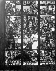 Ancienne abbaye de la Trinité - Vitrail : La Madeleine aux pieds du Christ
