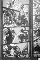 Cathédrale Saint-Etienne - Vitrail de la 1ère baie sud : petites scènes du tympan