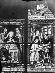 Cathédrale Saint-Etienne - Vitrail, 7e baie : Atelier de saint Joseph, sa mort