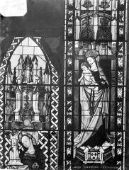 Cathédrale Saint-Etienne - Vitrail : sixième fenêtre, Vierge à l'Enfant, partie de sainte Barbe