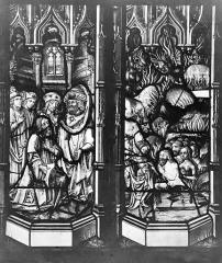 Ensemble archiépiscopal - Vitrail : Pilate se lave les main. Personnage à genoux. Descente aux limbes