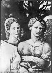 Eglise Saint-Gervais-Saint-Protais - Vitrail : détail de deux bustes de femmes