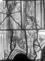 Cathédrale Saint-Julien - Relevé de panneau de vitrail (détail) : deux personnages