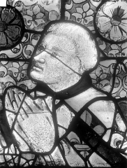 Cathédrale Saint-Julien - Relevé de panneau de vitrail (détail) : tête de donateur