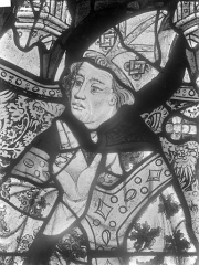 Cathédrale Saint-Julien - Relevé de panneau de vitrail (détail) : tête d'évêque