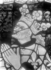 Cathédrale Saint-Julien - Relevé de panneau de vitrail (détail) : tête de roi priant