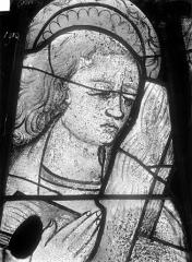Cathédrale Saint-Julien - Relevé de panneau de vitrail (détail) : tête de sainte