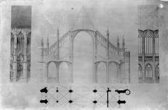 Cathédrale Sainte-Croix - Elévation et plan d'une travée. Coupe transversale