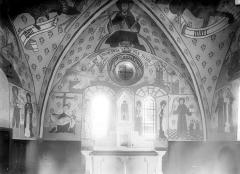 Eglise de la Nativité - Peintures murales du choeur, mur est : L'Annonciation. Pietà. Donateurs
