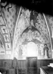 Eglise de la Nativité - Peintures murales du choeur, paroi nord : L'Ange du Jugement. Evêque. Saint Jean-Baptiste et saint Jean l'évangéliste