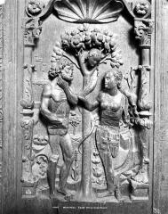 Eglise - Stalles, bas-relief d'une jouée : Adam et Eve