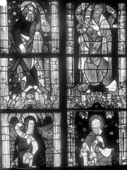 Cathédrale Saint-Julien - Vitrail du transept nord, baie 13, panneaux 3, 4, 11 et 12 : Saint André, saint Jacques le mineur, saint Simon et saint Thaddée