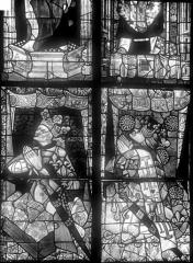 Cathédrale Saint-Julien - Vitrail du transept nord, baie 13, panneaux 21 et 22 : Le roi René ou Louis XIII son frère, et Louis XII roi de Sicile