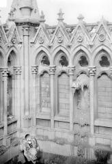 Cathédrale Notre-Dame - Façade sud : Arcatures de la galerie supérieure et gargouilles, à l'angle du transept et de la nef