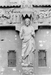 Cathédrale Notre-Dame - Portail gauche de la façade nord (portail du Jugement) : Statue du trumeau dit le Beau Dieu