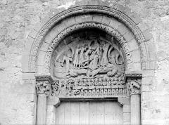 Eglise Sainte-Marie-Madeleine - Portail de la façade ouest, tympan et linteau : Epiphanie, Adam et Eve, La Cène