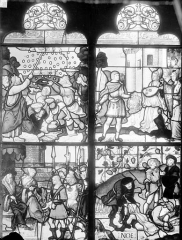 Eglise Saint-Pierre - Vitrail (panneaux anciens) : scènes de l'Ancien Testament