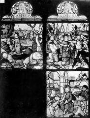 Eglise Saint-Pierre - Vitrail (panneaux anciens) : scènes de martyres