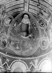 Eglise de Chateloy - Peinture murale du cul-de-four : Christ en majesté et les évangélistes