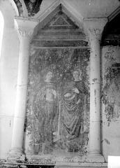 Eglise de Chateloy - Peinture murale des arcatures : deux femmes