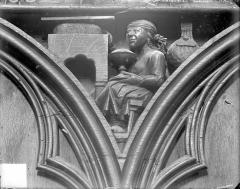 Cathédrale Saint-Pierre - Stalles, écoinçon : ange porteur de couronnes et figure symbolique des Péchés Capitaux