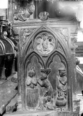 Eglise Saint-Jean-l'Evangéliste - Stalles du choeur (détail) : Martyre d'un saint