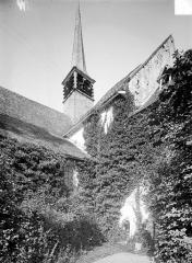 Ancienne Abbaye cistercienne de la Bussière, actuellement Centre d'accueil et de rencontre - Façade sud : Transept et clocher
