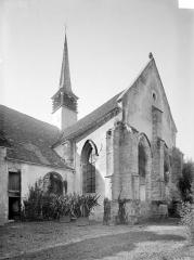 Ancienne Abbaye cistercienne de la Bussière, actuellement Centre d'accueil et de rencontre - Angle sud-est : Transept, abside et clocher