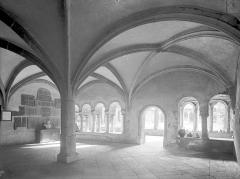 Abbaye de Charlieu - Salle capitulaire : Vue intérieure vers le cloître