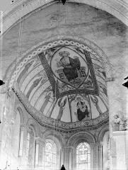 Eglise Sainte-Radegonde - Peintures murales de la voûte du choeur : Christ en majesté et tétramorphe. Vierge à l'Enfant entre deux anges. Hommes et femmes d'Eglise