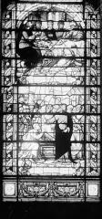 Hôpital - Vitrail de la chapelle : Simon le lépreux accueille Jésus à sa table. La Résurrection de Lazare