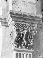 Cathédrale Saint-Lazare - Chapiteau de la nef côté sud, 3ème pile, face est : Le Quatrième ton de la musique