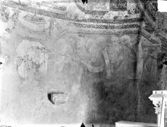 Eglise Notre-Dame - Crypte Saint-Catherine - Peintures murales du choeur (partie sud de l'abside, registre inférieur) : Sainte Catherine couronnée discutant avec les rhéteurs d'Alexandrie
