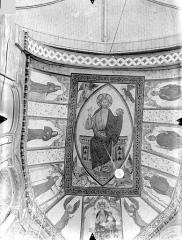 Eglise Sainte-Radegonde - Peintures murales du choeur, dans le cul-de-four de l'abside (ensemble) : Le Christ en majesté et le tétramorphe. Vierge à l'Enfant entre deux anges. Personnages d'Eglise