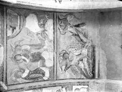 Ancienne église abbatiale - Peinture murale du porche (scènes de l'Apocalypse) - Voûte ouest, côté droit : Anges enchaînés sur l'Euphrate libérés par le 6ème ange. Saint Michel combattant le dragon