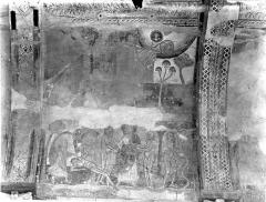 Ancienne église abbatiale - Peinture murale de la nef - Voûte, côté nord : La Création des astres (registre supérieur). La Création d'Eve et le paradis terrestre (registre inférieur)