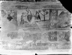 Ancienne église abbatiale - Peinture murale de la nef - Voûte, côté nord : Offrandes d'Abel et de Caïn (registre supérieur)